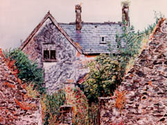 ruined house, kenmare, watercolor
