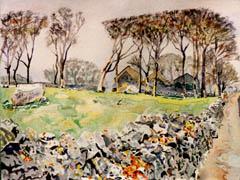 oranmore, galway road, watercolor